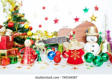 angel gift box and snowman Christmas toy decoration. or New Year concept on white background