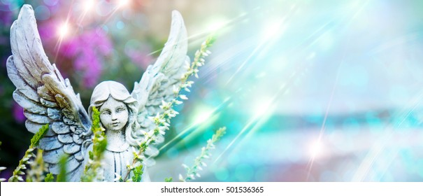 Angel, grave angels between flowers and stardust
