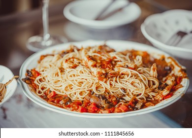 Angel Hair Pasta with tomato Sauce, Garlic and Shrimp