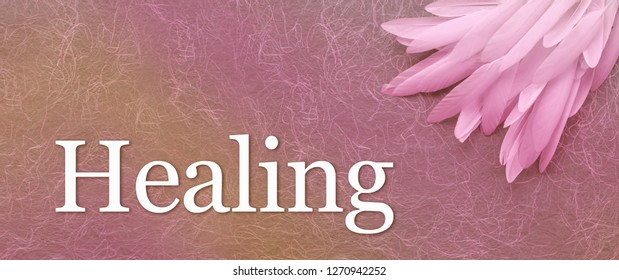 Angel Healing Feather Banner Head - a pile of long white feathers in right corner laid on a pink handmade fibrous paper background with the word Healing below