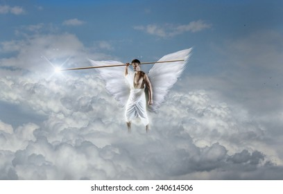 Angel is Holding a Javelin with Light