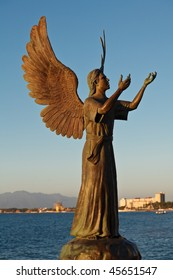 Angel of Hope and Messenger of Peace on El Malecon, Puerto Vallarta, Mexico