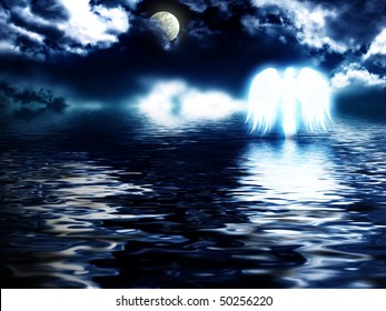 angel hovering over the water during a storm