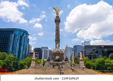 The Angel of Independence, officially known as Monumento a la Independencia near the major thoroughfare of Paseo de la Reforma in downtown Mexico City. - Mexico City, Mexico - 2 August 2018