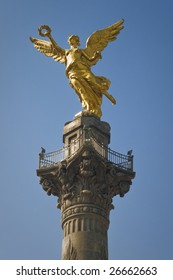 The Angel of Independence, officially known as a victory column located on a roundabout over Paseo de la Reforma in downtown Mexico City.