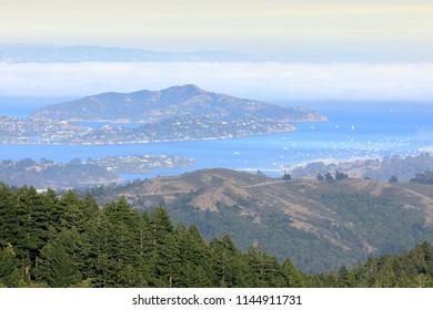 Angel Island and Richardson Bay viewed from Mt Tamalpais. Marin County, California, USA.