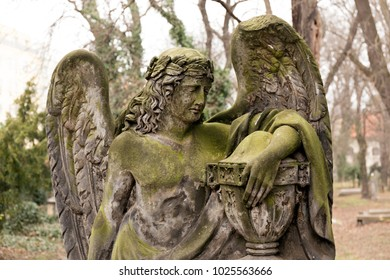 The Angel from the mystery old Prague Cemetery, Czech Republic