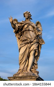 Angel with the Nails statue on Ponte Sant Angelo bridge in Rome, Italy. Marble sculpture from 17th century by Girolamo Lucenti