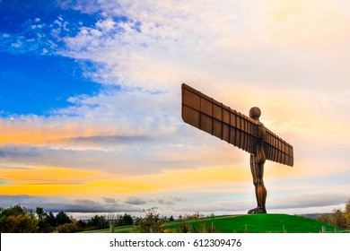 The angel of the north a steel sculpture stand alone on morning day at Newcastle Upon Tyne, UK