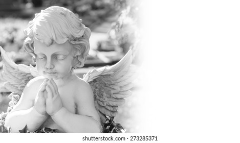 Angel on a cemetery in black and white / Graveyard