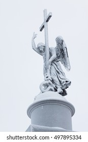 Angel on the top of Alexander column on Palace square, St.Petersburg, Russia
