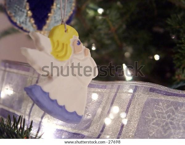 Angel ornament on a christmas tree