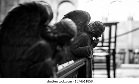 Angel Pews Bench, Shallow Depth of Field Black and White Photography