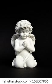 Angel in prayer on black card stock Funereal element