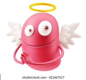 Angel Praying Emoji Cartoon. 3d Rendering.