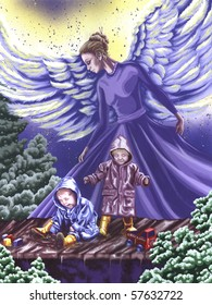 Angel Protecting Children Painting