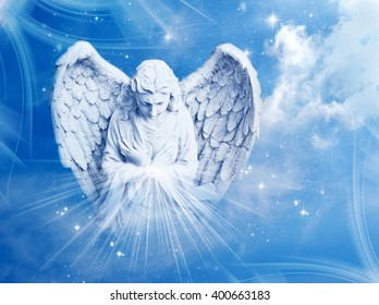angel with rays of light