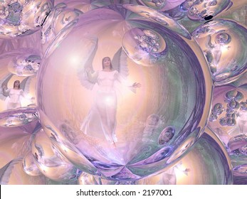 An Angel reflected in crystal balls