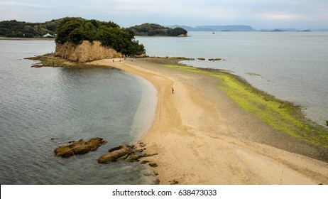 Angel road in shodoshima island, spring Japan