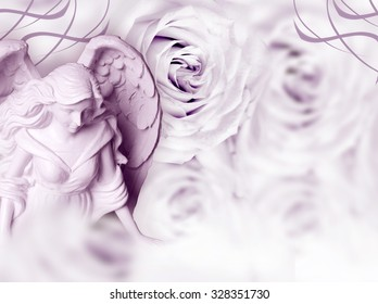 angel with roses and copy space
