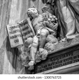 Angel Sculpture at St. Peter's Basilica in Rome Black and White