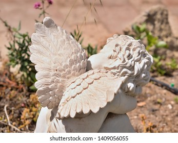 An angel sitting in the garden between flowers with the back and the wings to the photographer, made of white stone, arms on his knees, head turned to the left.