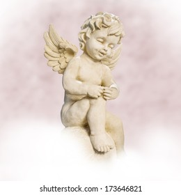 angel sitting on cloud. pink background