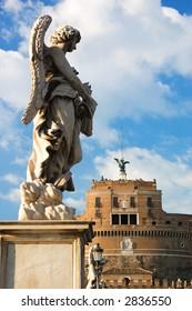 Angel statue on Ponte del Angelo Rome
