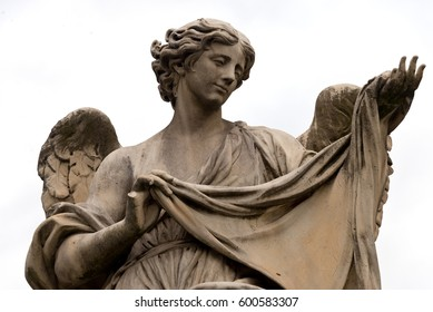 Angel Statue at Ponte Sant'Angelo (Aelian Bridge, Angel's Bridge), Rome, Italy