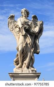 Angel statue in Saint Angel bridge. Rome, Italy