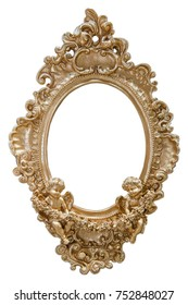 angel statues gold on picture frame