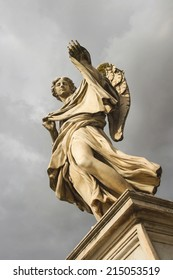 Angel with the Sudarium (Veronicas Veil)  on the bridge of Castel Sant'Angelo, Rome Italy