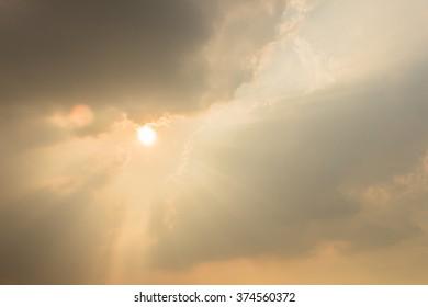 Angel sun ray of sun light like angel from a cloud