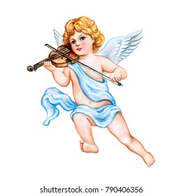 Angel with a violin isolated on white background. Watercolor. Illustration. Template. Vintage. Card. Clipart. Close-up. Valentine's Day