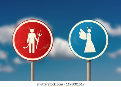 Angel walks away from the devil. Road sign