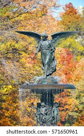 Angel of water in Bethesda Terrace in Autumn in Central Park New York City