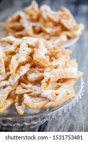Angel wings biscuits, a traditional European sweet dish for carnival