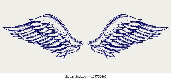 Angel wings. Doodle style. Raster version