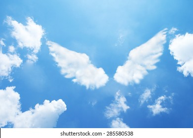Angel wings formed from clouds.
