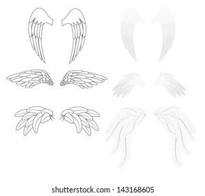 Angel wings silhouettes and realistic set of illustrations