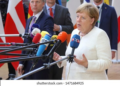 Angela Merkel, Chancellor of Germany,  during a media briefing as she arrives for an EU Council summit meeting with European Union leaders. Brussels, Belgium - June 20, 2019