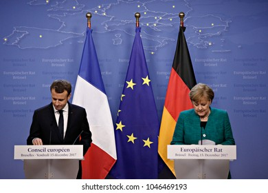 Angela Merkel, Chancellor of Germany on joint press conference with Emmanuel Macron, French President in Brussels, Belgium at the European Council summit on December 15, 2017.