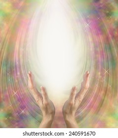 Angelic healing energy - female hands reaching up into ball of white energy with beautiful intricate Angelic energy formation radiating outwards and plenty of copy space