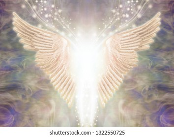 Angelic Light Being - Pair of Angel Wings with bright white light between and a stream of glittering sparkles flowing upwards against an ethereal gaseous energy formation background