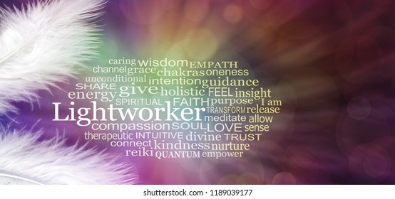 Angelic Lightworker Word Tag Cloud - Fluffy white feathers in left corners against a radiating dark multicoloured bokeh background with a LIGHTWORKER word cloud