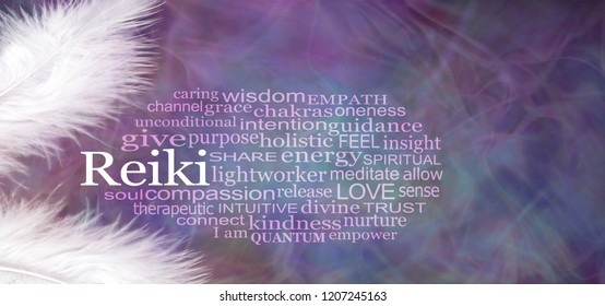 Angelic REIKI Word Cloud Rustic Banner  - two white feathers with a REIKI word cloud between against a wispy purple pattern background