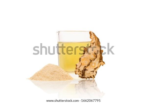 Angelica root slices, powder and tincture isolated on white background. Medicinal plant, traditional chinese medicine.