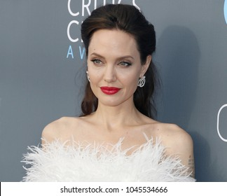 Angelina Jolie at the 23rd Annual Critics' Choice Awards held at the Barker Hangar in Santa Monica, USA on January 11, 2018.