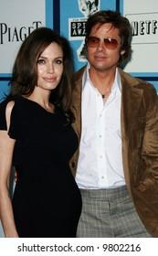 Angelina Jolie and Brad Pitt at the 2008 Film Independent Spirit Awards at Santa Monica Beach, Santa Monica, California
