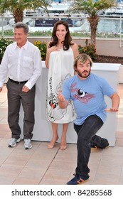 "Angelina Jolie with Dustin Hoffman & Jack Black at photocall for their new movie ""Kung Fu Panda"" at the 61st Annual Cannes Film Festival. May 15, 2008 Cannes, France. By: Paul Smith / Featureflash"